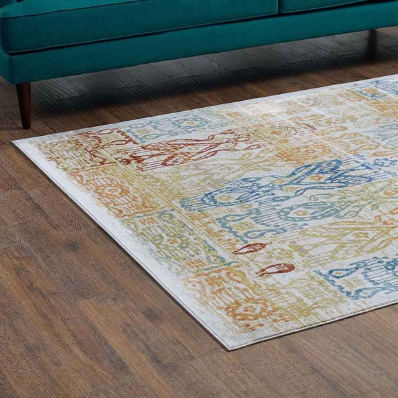 Solimar Distressed Southwestern Aztec 8x10 Area Rug In