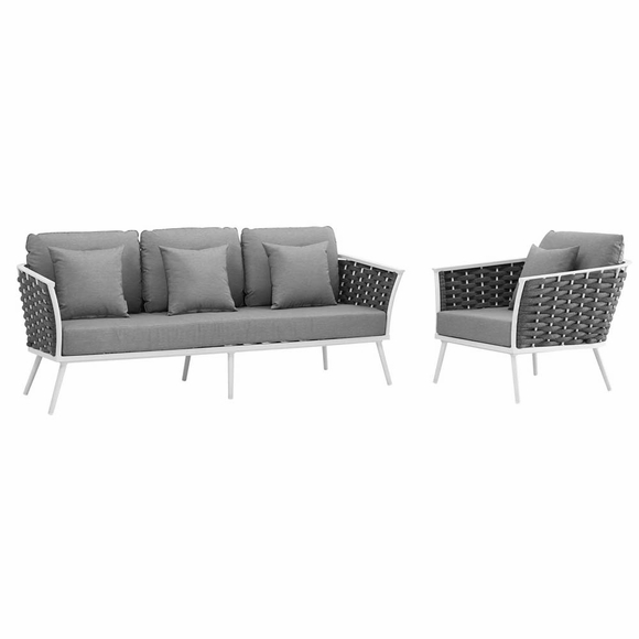 Stance 2 Piece Outdoor Patio Aluminum Sectional Sofa Set MID-3164