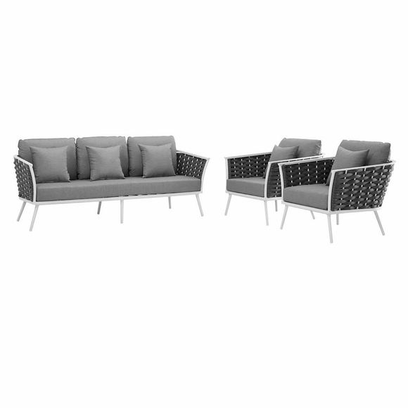 Stance 3 Piece Outdoor Patio Aluminum Sectional Sofa Set MID-3165