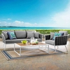 Stance 3 Piece Outdoor Patio Aluminum Sectional Sofa Set MID-3166
