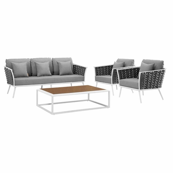 Stance 4 Piece Outdoor Patio Aluminum Sectional Sofa Set MID-3167