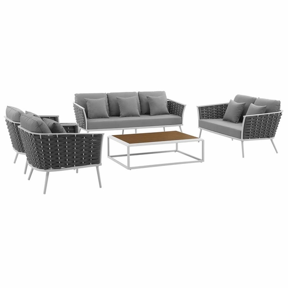 Stance 5 Piece Outdoor Patio Aluminum Sectional Sofa Set MID-3187