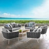 Stance 6 Piece Outdoor Patio Aluminum Sectional Sofa Set