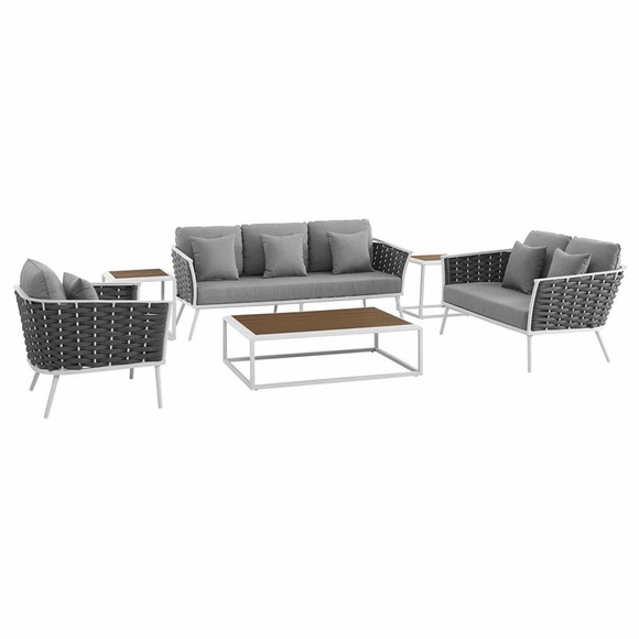Stance 6 Piece Outdoor Patio Aluminum Sectional Sofa Set MID-3159