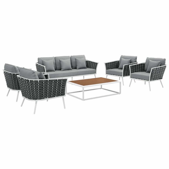 Stance 6 Piece Outdoor Patio Aluminum Sectional Sofa Set MID-3168