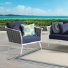 Stance Outdoor Patio Aluminum Armchair in White Gray