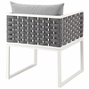 Stance Outdoor Patio Aluminum Dining Armchair in White Gray