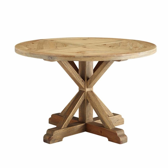 Stitch 47inch Round Pine Wood Dining Table in Brown
