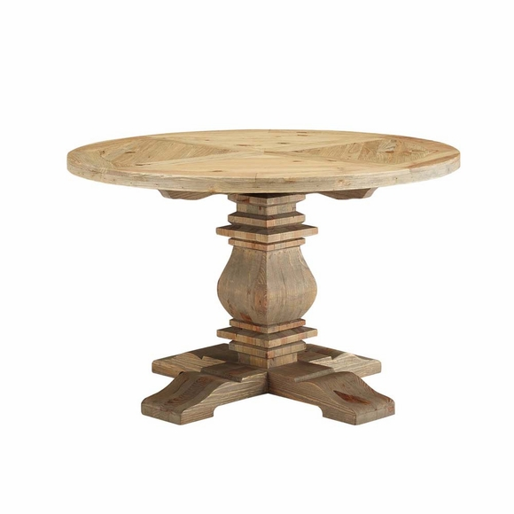 Stitch 47inch Round Pine Wood Dining Table in Brown MID-3491