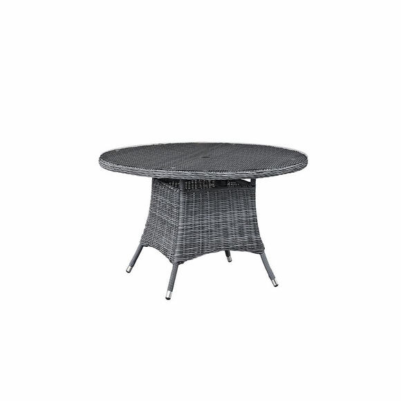 Summon 47 Inch Round Outdoor Patio Dining Table in Gray