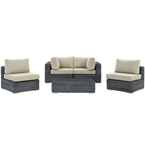Summon 5 Piece Outdoor Patio Wicker Sectional Set
