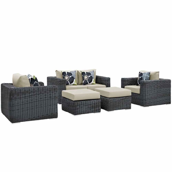 Summon 5 Piece Outdoor Patio Sunbrella Sectional Set MID-2388