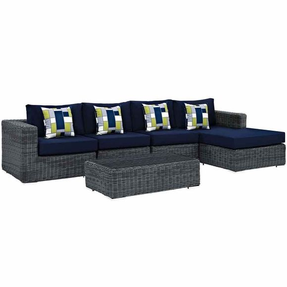 Summon 5 Piece Outdoor Patio Sunbrella Sectional Set in Canvas Navy