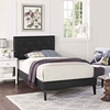 Tarah Twin Vinyl Platform Bed with Squared Tapered Legs