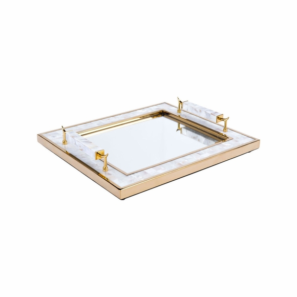 Tray With Horn Handle in Gold
