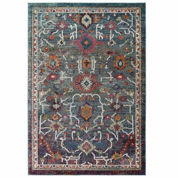 Tribute Every Distressed Vintage Floral 5x8 Area Rug In