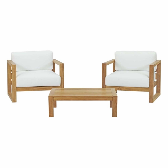 Upland 3 Piece Outdoor Patio Teak Set in Natural White MID-3114