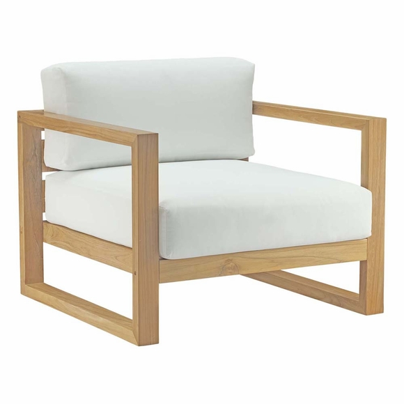 Upland Outdoor Patio Teak Armchair in Natural White