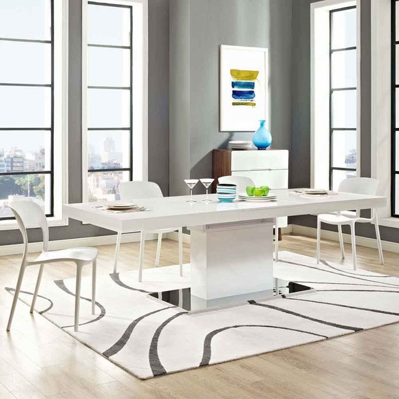 Vector Expandable Dining Table in White Silver- Modern In ...