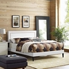 Virginia King Vinyl Platform Bed with Squared Tapered Legs