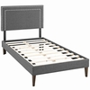 Virginia Twin Fabric Platform Bed with Squared Tapered Legs
