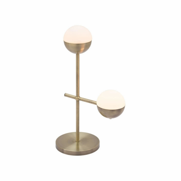 Waterloo Table Lamp in White & Brushed Bronze