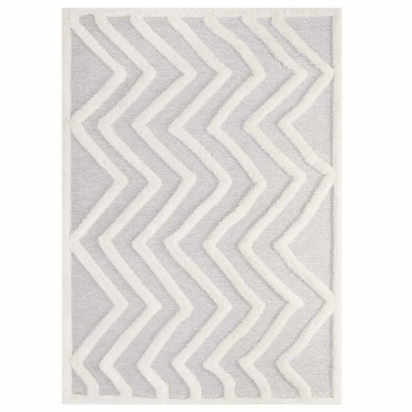 Whimsical Abstract Chevron 5x8 Shag Area Rug In Ivory And