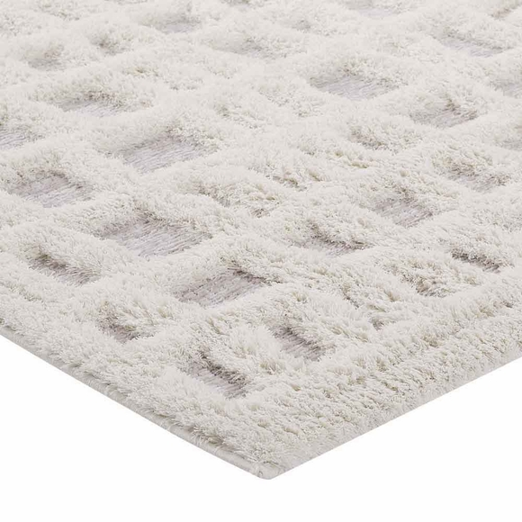 Whimsical Abstract Plaid Lattice 8x10 Shag Area Rug In