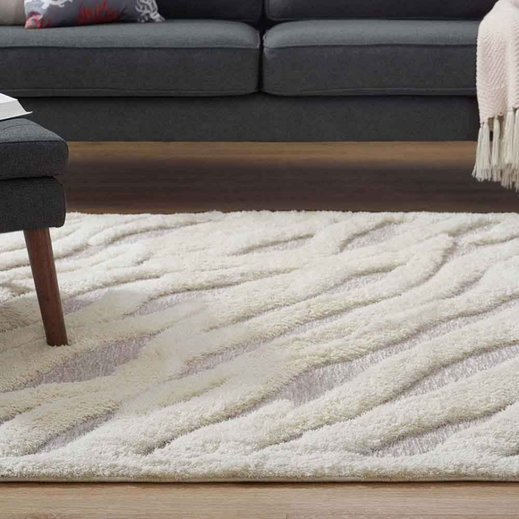 Whimsical Abstract Wavy Striped 8x10 Shag Area Rug In