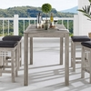 """Wiscasset 59"""" Outdoor Patio Acacia Wood Bar Table in Light Gray"""