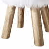 Yvette White Faux Fur Stool