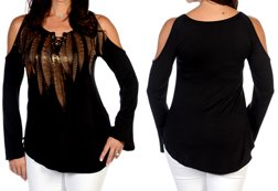 Rustic Feathers Long Sleeve Top<br/><b>Available in Black</b><br/>ITEM # 7693