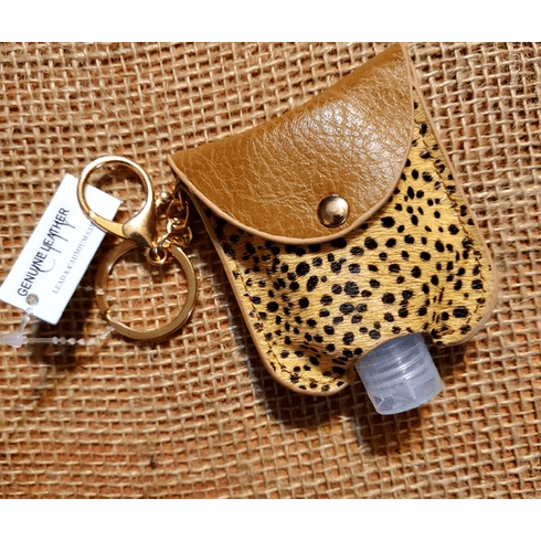 Animal print key chain holder with a 1oZ hand sanitizer bottle