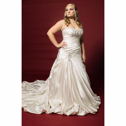 Beautiful satin strapless jeweled gown