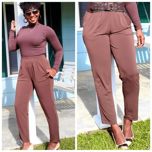 Brown Pleat Front Pant