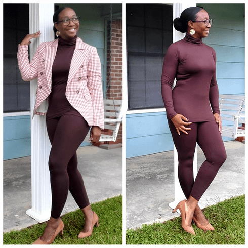 Chocolate Mock Neck Two Piece