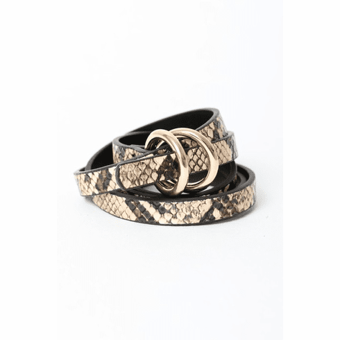 Double Ring Leopard Skinny Belt
