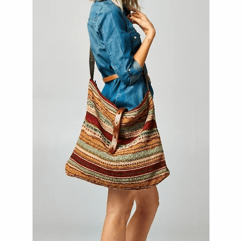 Earth Tone Striped Crossbody Large Tote