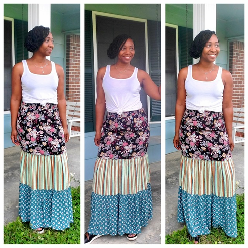 Flowy Floral & Striped Maxi Skirt