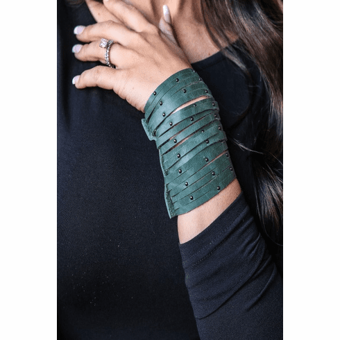 Green Leah Leather Cuff