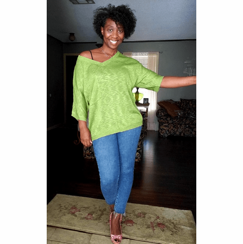 Green Loose Fit Knit Sweater