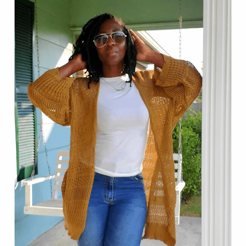 Mustard Netted Cardigan