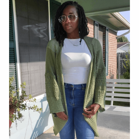 Olive Green Netted Cardigan