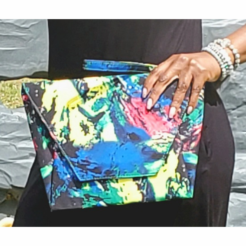 Paint Strokes Oversized Envelope Clutch