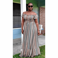Ruched Striped Maxi