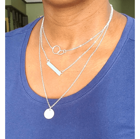 Silver coin and Bar Necklace