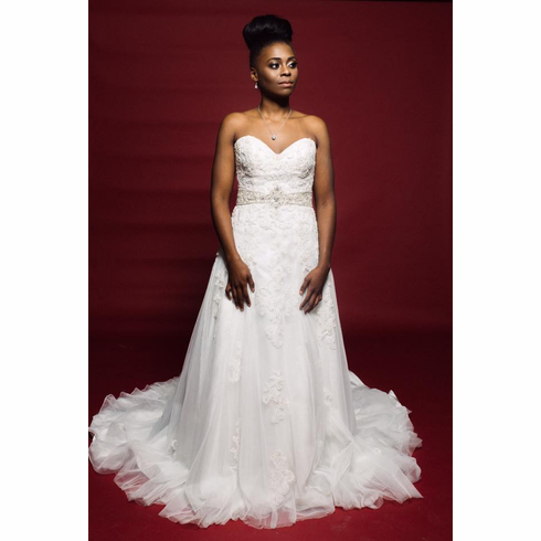 strapless aline lace and beaded gown