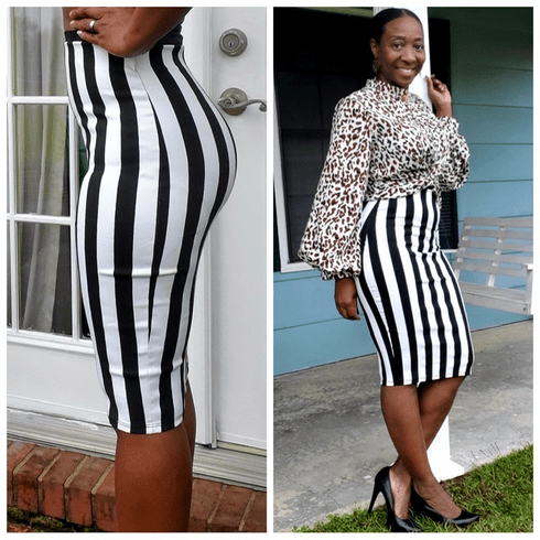 Striped Body Con Midi Skirt