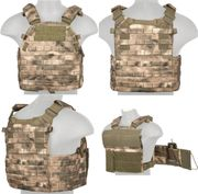 Lancer Tactical Airsoft MilSim 6094 MOLLE Plate Carrier Vest in AT-FG Camo CA-311F