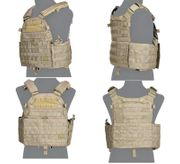 Lancer Tactical Airsoft MilSim Nylon 6094 MOLLE Plate Carrier Vest in Coyote Brown CA-311KN